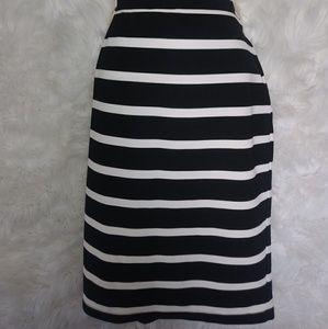 Black and White Midi Skirt